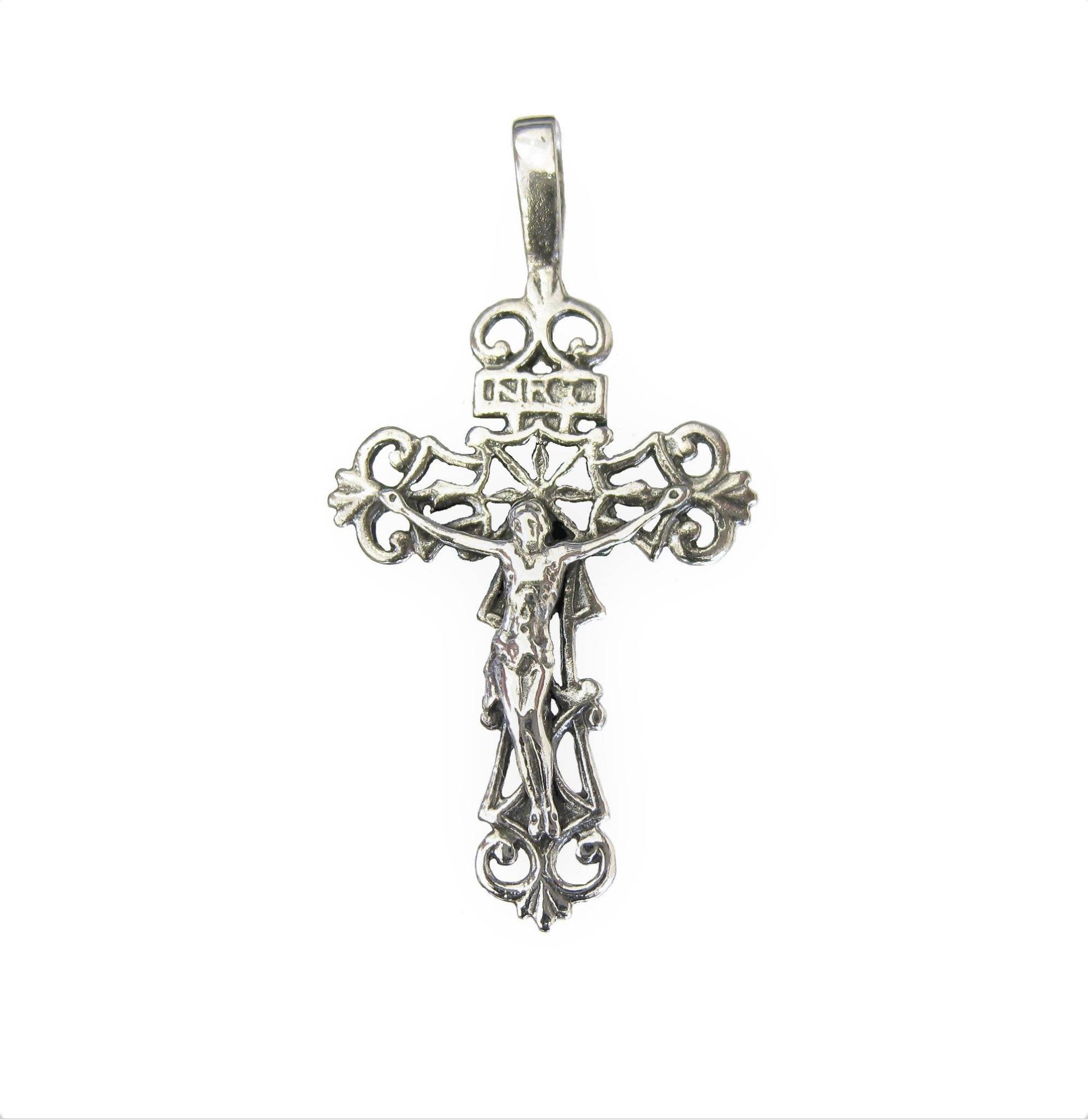 .925 Sterling Silver Eastern Orthodox Cross Charm Pendant MSRP $133