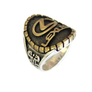 Ring man car logo L gold plated