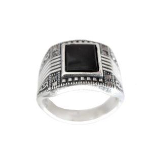 Signet ring men black stone 1448