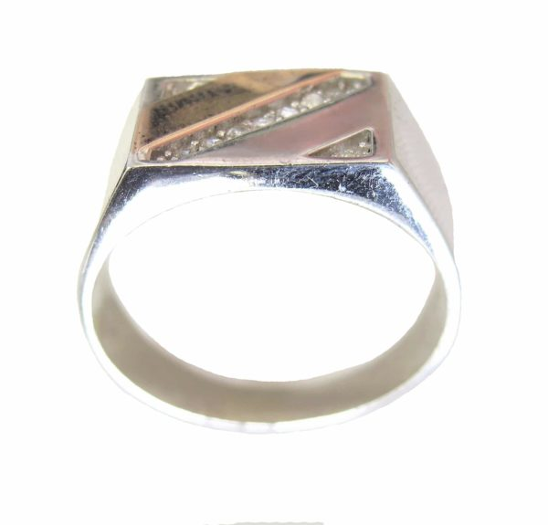 Signet ring men stones gold plating