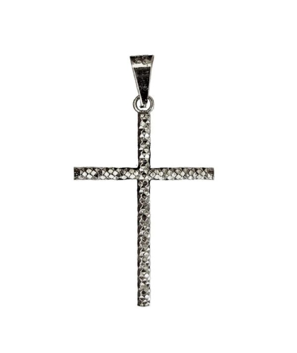 cross straight diamond face pendant