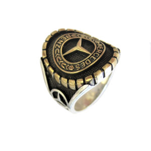 Ring man car logo M gold plated