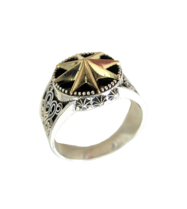 Ring unisex Rose Winds gold plated ornament