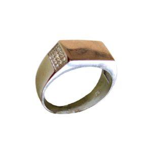 Signet ring men rectangle gold plating surface engraving