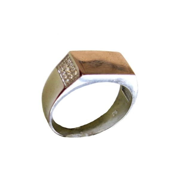 Signet Ring Men Rectangle Gold Plating Surface Engraving Atlantis Gold