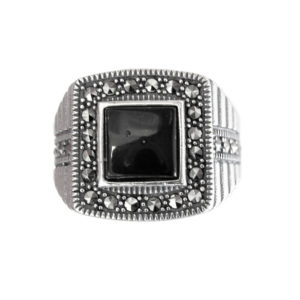 Signet men black stone and small stones ring