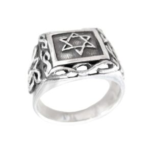 Signet ring men Judaic Magen david ornament