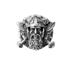 Grin Viking ax sword Signet ring men