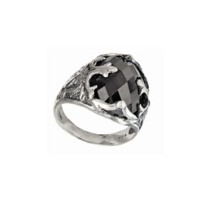Signet ring men pattern with black stone
