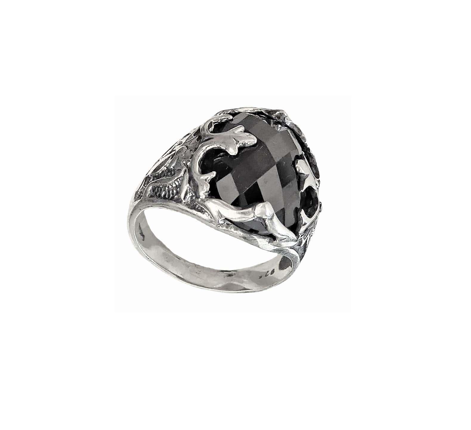 Anillo De Sello Para Hombre Con Piedra Negra M68 Plata 925 Ebay