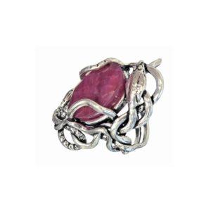 ring women Snake Hugging Crimson Stone