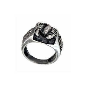 Signet ring men Scorpions and black stone