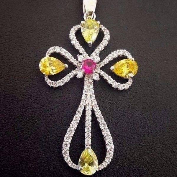 Beautiful orthodox cross pendant with zircons yellow gold 585 solid beautiful orthodox cross pendant aloadofball Image collections