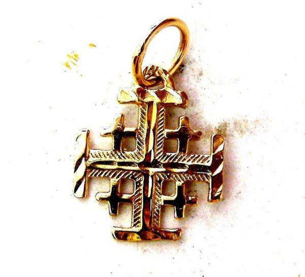 Jerusalem Templar Cross pilgrim Pendant Red Gold 585 solid #a87b